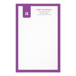 Simple Monogram Purple Designer Stationery