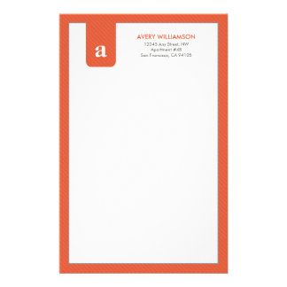Simple Monogram Tangerine Designer Stationery