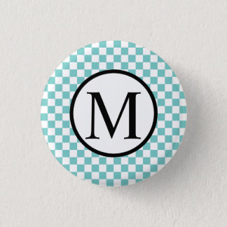 Simple Monogram with Aqua Checkerboard 1 Inch Round Button