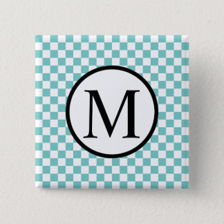 Simple Monogram with Aqua Checkerboard 2 Inch Square Button