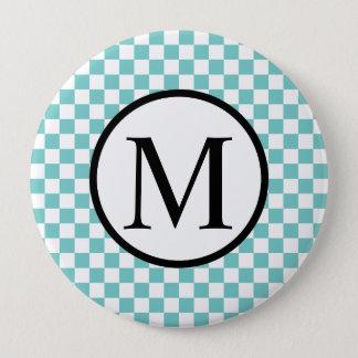Simple Monogram with Aqua Checkerboard 4 Inch Round Button