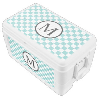 Simple Monogram with Aqua Checkerboard Chest Cooler
