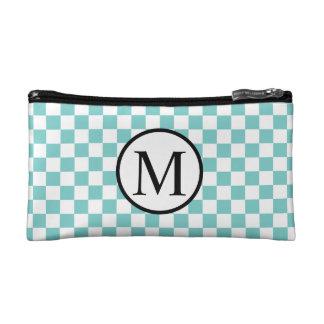 Simple Monogram with Aqua Checkerboard Cosmetic Bag