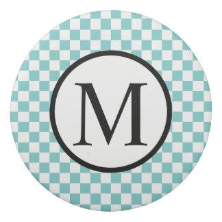Simple Monogram with Aqua Checkerboard Eraser