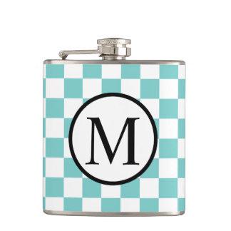 Simple Monogram with Aqua Checkerboard Hip Flask