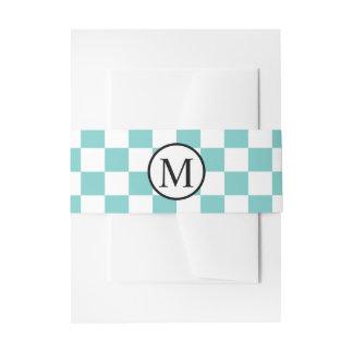 Simple Monogram with Aqua Checkerboard Invitation Belly Band