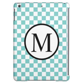 Simple Monogram with Aqua Checkerboard iPad Air Case