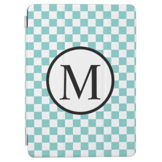 Simple Monogram with Aqua Checkerboard iPad Air Cover