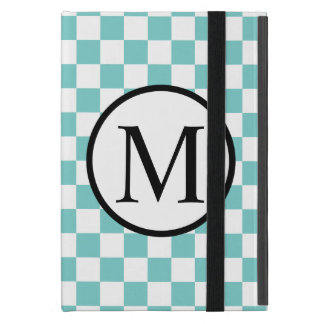 Simple Monogram with Aqua Checkerboard iPad Mini Cover