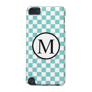 Simple Monogram with Aqua Checkerboard iPod Touch 5G Cover