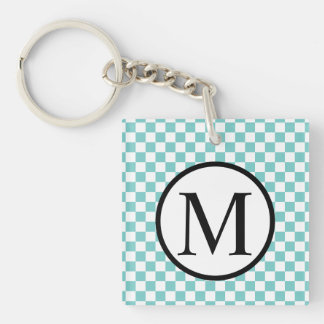 Simple Monogram with Aqua Checkerboard Keychain