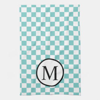 Simple Monogram with Aqua Checkerboard Kitchen Towel