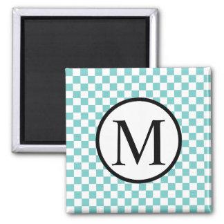 Simple Monogram with Aqua Checkerboard Magnet