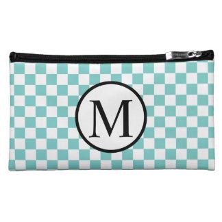 Simple Monogram with Aqua Checkerboard Makeup Bag