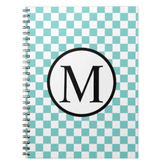 Simple Monogram with Aqua Checkerboard Notebook