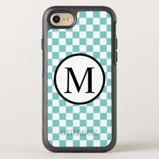 Simple Monogram with Aqua Checkerboard OtterBox Symmetry iPhone 8/7 Case