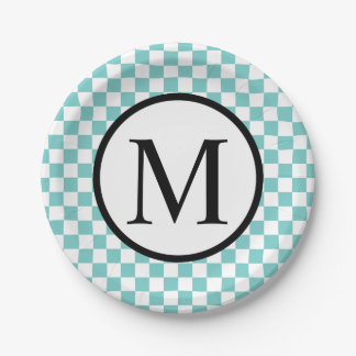 Simple Monogram with Aqua Checkerboard Paper Plate