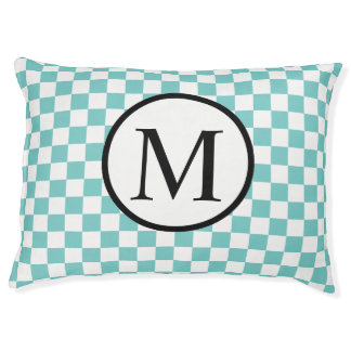 Simple Monogram with Aqua Checkerboard Pet Bed