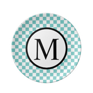 Simple Monogram with Aqua Checkerboard Plate