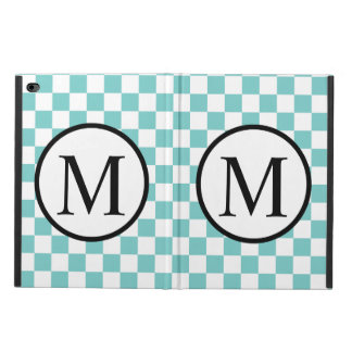 Simple Monogram with Aqua Checkerboard Powis iPad Air 2 Case
