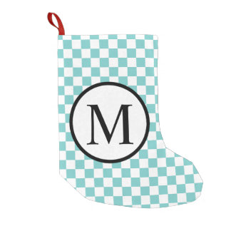 Simple Monogram with Aqua Checkerboard Small Christmas Stocking