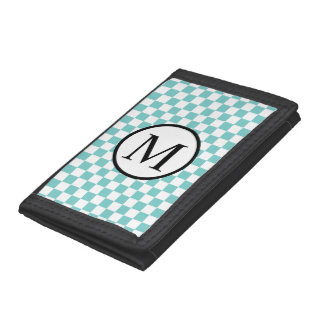 Simple Monogram with Aqua Checkerboard Trifold Wallets