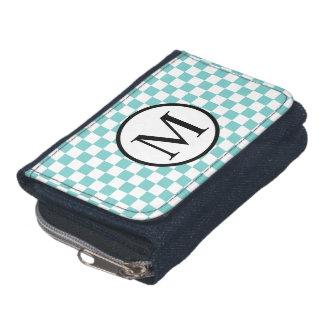 Simple Monogram with Aqua Checkerboard Wallet