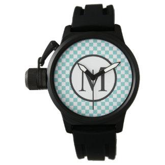 Simple Monogram with Aqua Checkerboard Watch