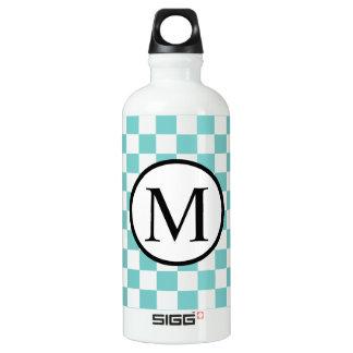 Simple Monogram with Aqua Checkerboard Water Bottle
