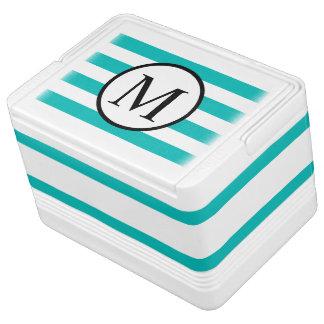 Simple Monogram with Aqua Horizontal Stripes