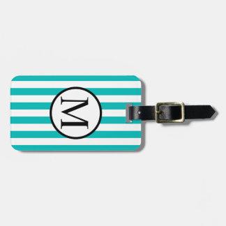 Simple Monogram with Aqua Horizontal Stripes Bag Tag