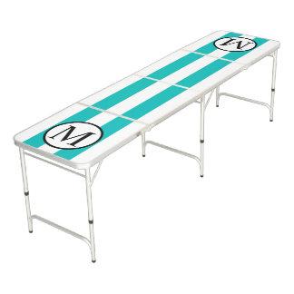 Simple Monogram with Aqua Horizontal Stripes Beer Pong Table