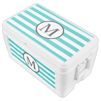 Simple Monogram with Aqua Horizontal Stripes Cooler