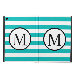 Simple Monogram with Aqua Horizontal Stripes Cover For iPad Air