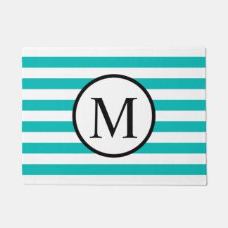 Simple Monogram with Aqua Horizontal Stripes Doormat