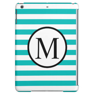 Simple Monogram with Aqua Horizontal Stripes iPad Air Cases