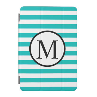 Simple Monogram with Aqua Horizontal Stripes iPad Mini Cover