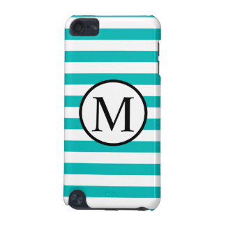 Simple Monogram with Aqua Horizontal Stripes iPod Touch 5G Cover