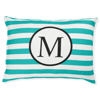 Simple Monogram with Aqua Horizontal Stripes Large Dog Bed
