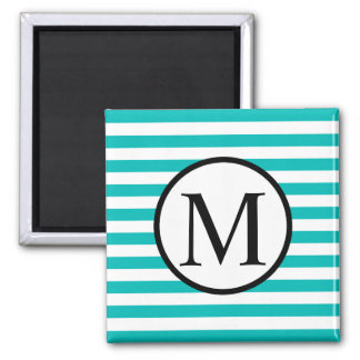Simple Monogram with Aqua Horizontal Stripes Magnet