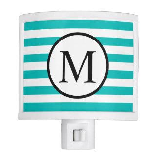 Simple Monogram with Aqua Horizontal Stripes Nite Lites