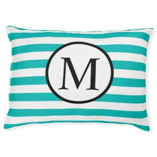Simple Monogram with Aqua Horizontal Stripes Pet Bed