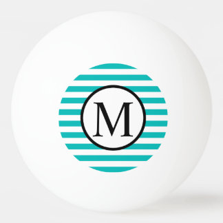 Simple Monogram with Aqua Horizontal Stripes Ping Pong Ball