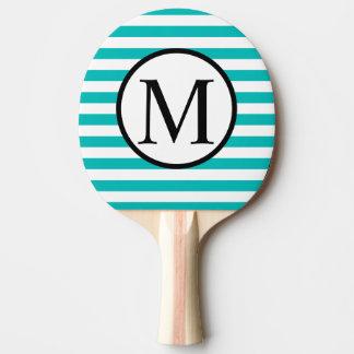 Simple Monogram with Aqua Horizontal Stripes Ping Pong Paddle