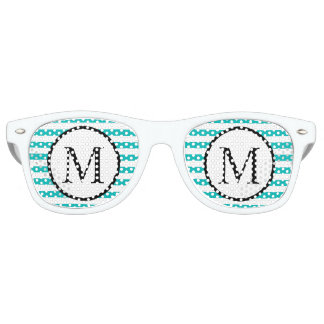 Simple Monogram with Aqua Horizontal Stripes Retro Sunglasses
