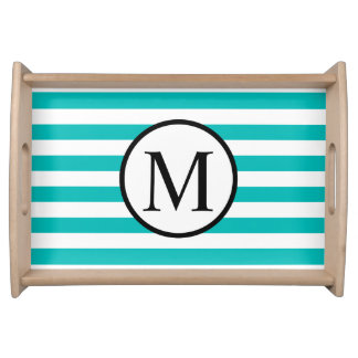Simple Monogram with Aqua Horizontal Stripes Serving Tray