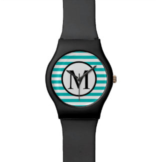 Simple Monogram with Aqua Horizontal Stripes Watch