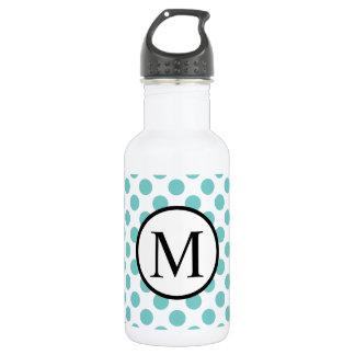 Simple Monogram with Aqua Polka Dots 532 Ml Water Bottle