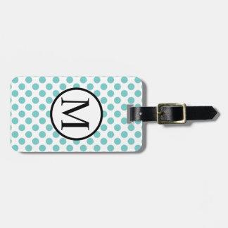Simple Monogram with Aqua Polka Dots Bag Tag