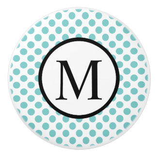 Simple Monogram with Aqua Polka Dots Ceramic Knob